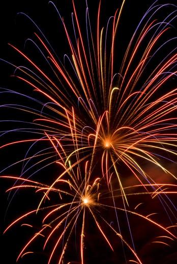 Stock Photo: 1596-1295 Fireworks display in the sky at night, Salem World Beat Festival, Riverfront Park, Salem, Oregon, USA