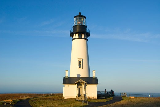 Lighthouse at the coast, Yaquina Head Lighthouse, Yaquina Head Outstanding Natural Area, Salem District Bureau of Land Management, Oregon, USA : Stock Photo