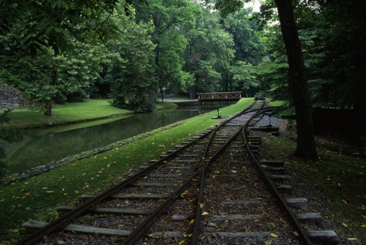 High angle view of railroad tracks, Hagley Museum and Library, Wilmington, Delaware, USA : Stock Photo