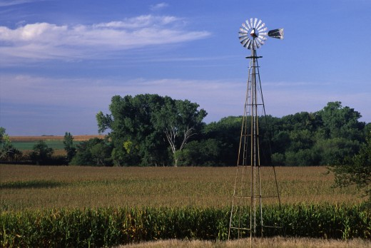 Stock Photo: 1596-1567 Industrial windmill in a field, Marshall County, Kansas, USA