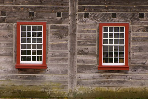 Stock Photo: 1596-1589 Two windows of a house, Indian Trade Shop and Dispensary, Fort Vancouver National Historic Site, Washington State, USA