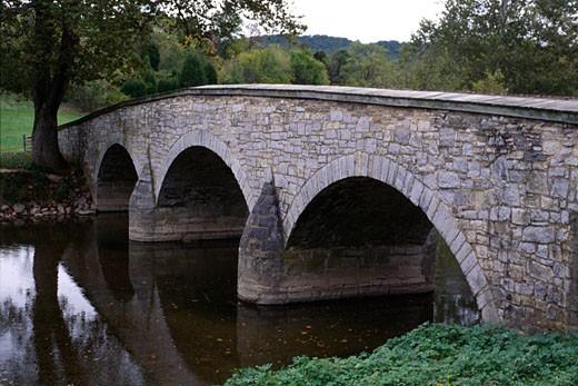 Bridge across a creek, Burnside Bridge, Antietam Creek, Antietam National Battlefield, Sharpsburg, Washington County, Maryland, USA : Stock Photo