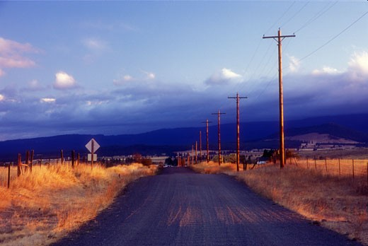 Telephone poles along a ranch road, Klickitat Valley, Klickitat County, Washington State, USA : Stock Photo