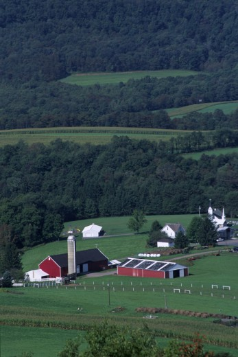 High angle view of farmhouses, Garrett County, Maryland, USA : Stock Photo
