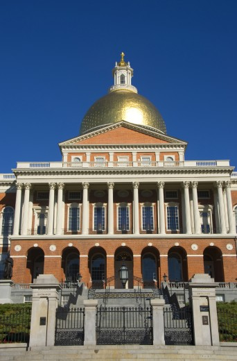 Facade of a government building, Massachusetts State Capitol, Boston, Massachusetts, USA : Stock Photo