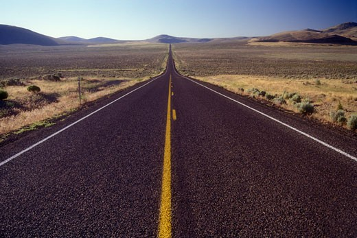 Highway passing through a landscape, Oregon Route 78, Harney County, Oregon, USA : Stock Photo