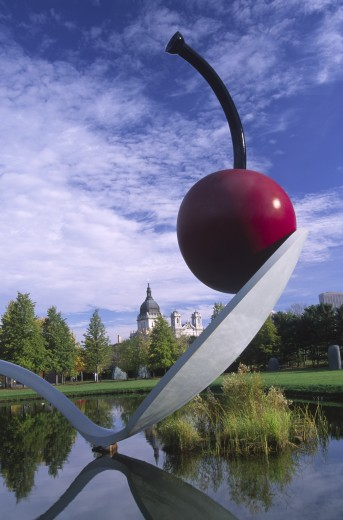 Stock Photo: 1596-1866A Sculpture of a spoonbridge and a cherry in a garden, Minneapolis Sculpture Garden, Minneapolis, Hennepin County, Minnesota, USA