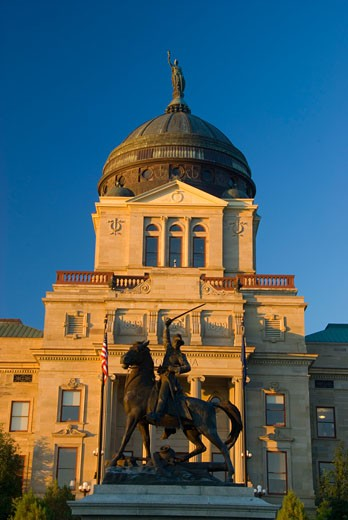 Statue of Thomas Francis Meagher in front of a government building, Montana State Capitol, Helena, Montana, USA : Stock Photo