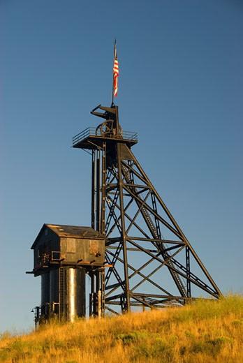 Stock Photo: 1596-1883 Low angle view of a headframe, Travona Mine, Butte, Montana, USA