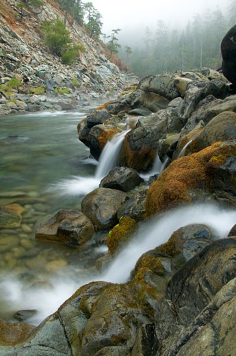 Stock Photo: 1596-1996B Stream flowing through rocks, Stony Creek, North Fork Smith River, Smith River National Recreation Area, Smith Wild and Scenic River, Six Rivers National Forest, California, USA