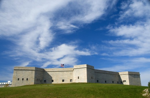 Low angle view of a fort, Fort Trumbull, Fort Trumbull State Park, New London, Connecticut, USA : Stock Photo