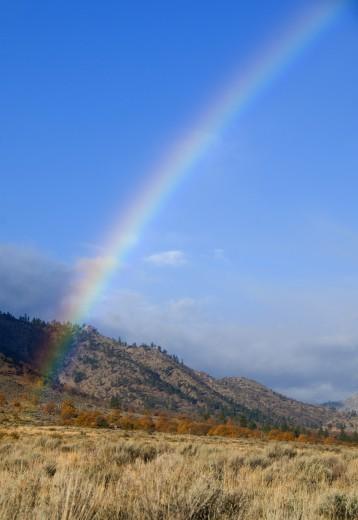 Stock Photo: 1596-2211 Honey Lake Valley rainbow, Lassen County, CA, USA