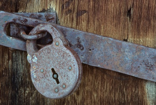 Stock Photo: 1596-2612 Close-up of an old padlock on a barn, Whitney, Wallowa-Whitman National Forest, Oregon, USA