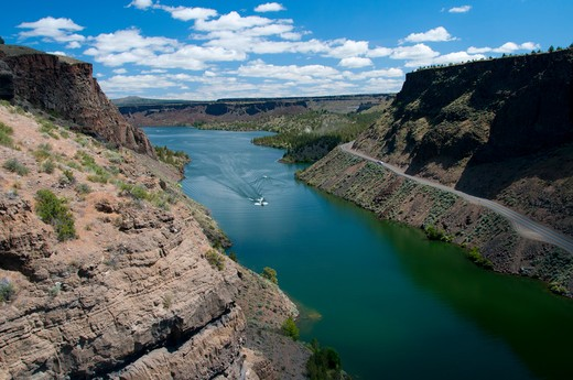 Stock Photo: 1596-2778 High angle view of a canyon, Crooked River, Lake Billy Chinook, Cove Palisades State Park, Oregon, USA