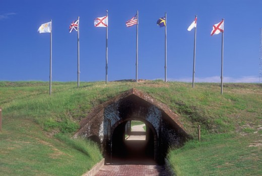 Stock Photo: 1596-288 Road passing through a tunnel, Fort Morgan State Historic Site, Alabama, USA