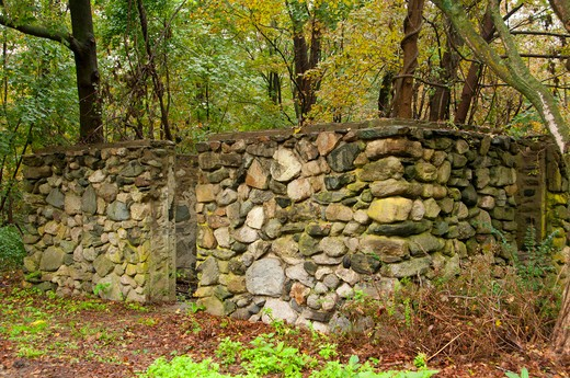 Stock Photo: 1596-2906 USA, Connecticut, Collis P Huntington State Park, Rockwork ruins
