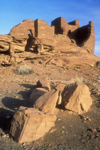 Low angle view of rock formations on a landscape, Wukoki Pueblo, Wupatki National Monument, Arizona, USA : Stock Photo