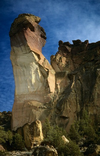 Monkey face rock at Smith Rocks State Park, Oregon, USA : Stock Photo