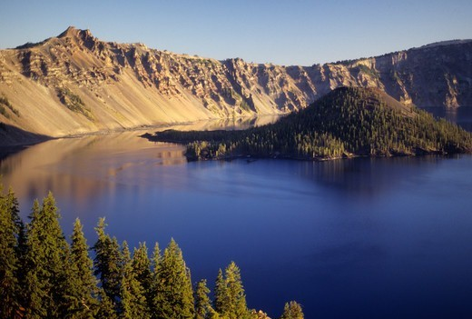 Island in a lake, Wizard Island, Hillman Peak, Crater Lake, Crater Lake National Park, Oregon, USA : Stock Photo