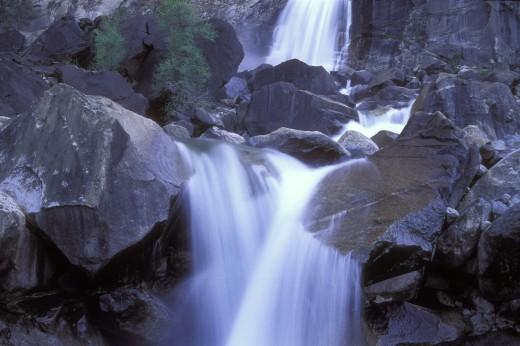 Water flowing through rocks, Wapama Falls, Yosemite National Park, California, USA : Stock Photo