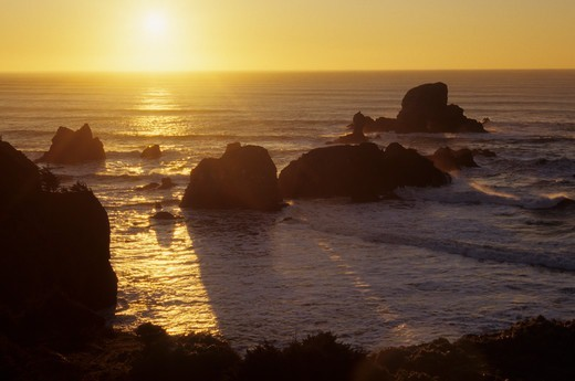 Stock Photo: 1596-3164 Ecola Point at sunset, Ecola State Park, Oregon, USA