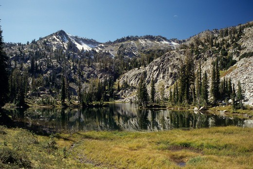 Stock Photo: 1596-3182 Reflection of mountain on water, Laverty Lake, Eagle Cap Wilderness, Wallowa-Whitman National Forest, Oregon, USA