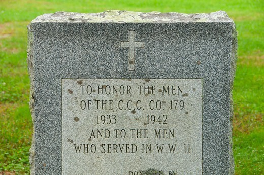 Camp Lonergan CCC (Civilian Conservation Corps) monument, Pachaug State Forest, New London County, Connecticut, USA : Stock Photo