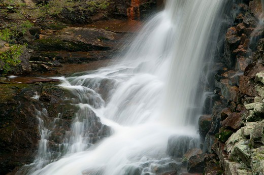 Stock Photo: 1596-3271 Green Fall Pond outlet waterfall, Pachaug State Forest, New London County, Connecticut, USA