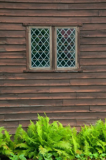 Stock Photo: 1596-3298 Meeting House window, Phelps Tavern Museum, Simsbury, Hartford County, Connecticut, USA