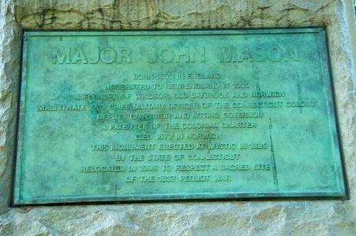 John Mason statue plaque, Palisado Green, Windsor, Hartford County, Connecticut, USA : Stock Photo
