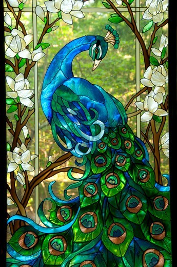 Glasswork in Oriental Garden, Wickham Park, Manchester, Hartford County, Connecticut, USA : Stock Photo