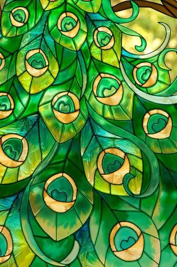 Glasswork in Oriental Garden, Wickham Park, Manchester, Hartford County, Connecticut, USA : Stock Photo