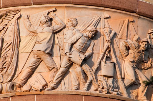 Stock Photo: 1596-3327 Bas relief on Soldiers and Sailors Memorial Arch, Bushnell Park, Hartford, Hartford County, Connecticut, USA
