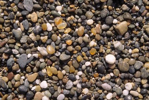 Stock Photo: 1596-3390 USA, Oregon, Floras Lake State Park, Floras Lake, Beach gravel