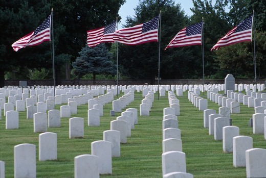 USA, Missouri, Springfield, Springfield National Cemetery, Grave rows with American flags : Stock Photo
