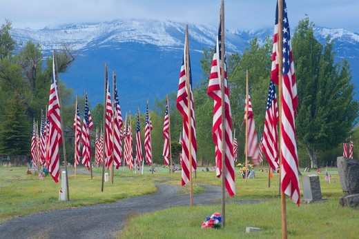 Stock Photo: 1596-3696 USA, Oregon, Prairie City, Prairie City Cemetery with American flags