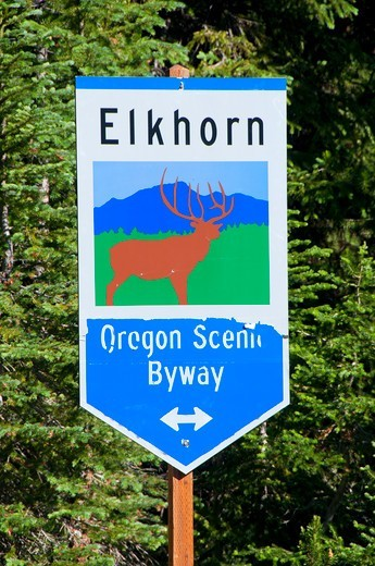Stock Photo: 1596-3725 USA, Oregon, Wallowa-Whitman National Forest, Elkhorn National Scenic Byway, Byway sign