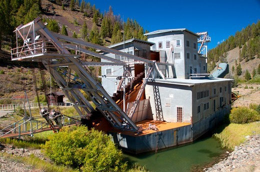 USA, Idaho, Salmon-Challis National Forest, Yankee Fork Dredge, Land of Yankee Fork Historic Area, Custer Motorway : Stock Photo