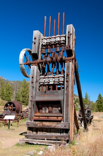 USA, Idaho, Salmon-Challis National Forest, Custer Ghost Town stamp mill, Land of Yankee Fork Historic Area, Custer Motorway : Stock Photo