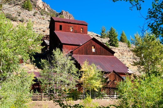 USA, Idaho, Land of Yankee Fork State Park, Bayhorse Mill, Bayhorse Town Site : Stock Photo