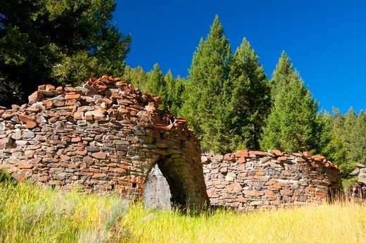 Stock Photo: 1596-3789 USA, Idaho, Land of Yankee Fork State Park, Charcoal kilns, Bayhorse Town Site