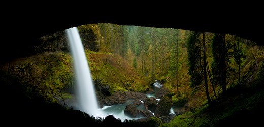 Stock Photo: 1596-3859 North Falls in Silver Falls State Park, Oregon, USA
