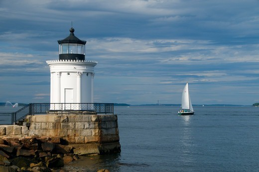 Stock Photo: 1596-3881 Lighthouse on the coast, Portland Breakwater Light, Fore River, South Portland, Cumberland County, Maine, USA