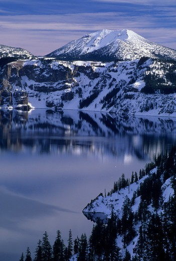 Crater Lake with Mount Scott in winter, Crater Lake National Park, Oregon, USA : Stock Photo