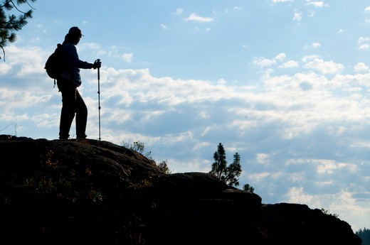 Silhouette of hiker on mountain, Imnaha Wild And Scenic River, Hells Canyon National Recreation Area, Oregon, USA : Stock Photo