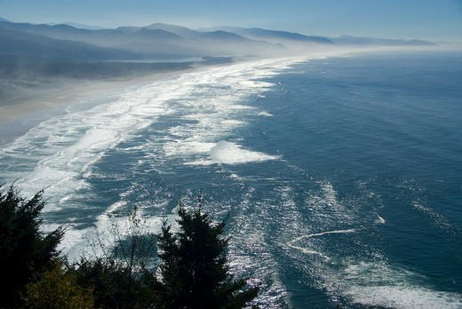Neahkahnie Mountain view, Oswald West State Park, Pacific Coast Scenic Byway, Oregon, USA : Stock Photo