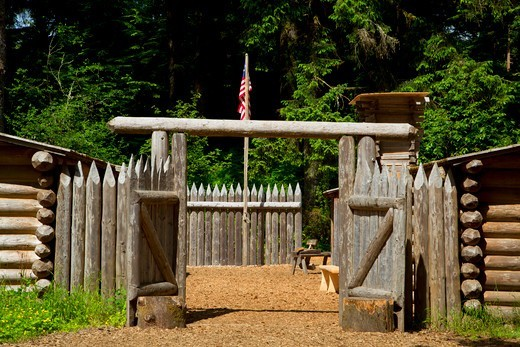 Stock Photo: 1596-4029 Fort Clatsop replica at Fort Clatsop National Memorial, Lewis and Clark National Historical Park, Oregon, USA