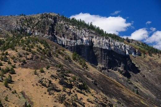 Stock Photo: 1596-4038 Cliffs at Winter Rim, Summer Lake Wildlife Area, Oregon Outback Scenic Byway, Oregon, USA