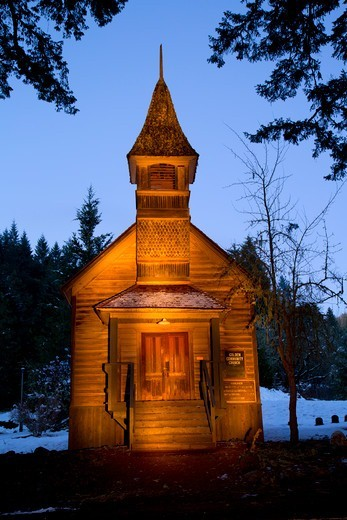 USA, Oregon, Golden State Park, Golden Community Church at night : Stock Photo