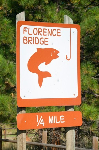USA, Montana, Ravalli County, Florence Bridge Fishing Access Site, Entrance sign : Stock Photo